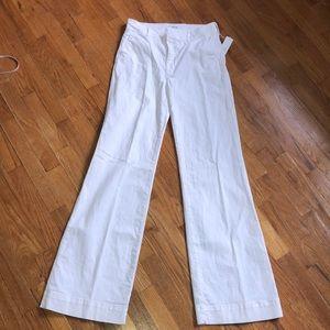 Hudson NWT TALL poplin wide leg white jeans.